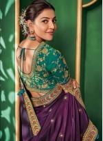 Art Silk Embroidered Purple Designer Saree