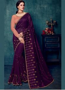 Art Silk Embroidered Purple Traditional Designer Saree