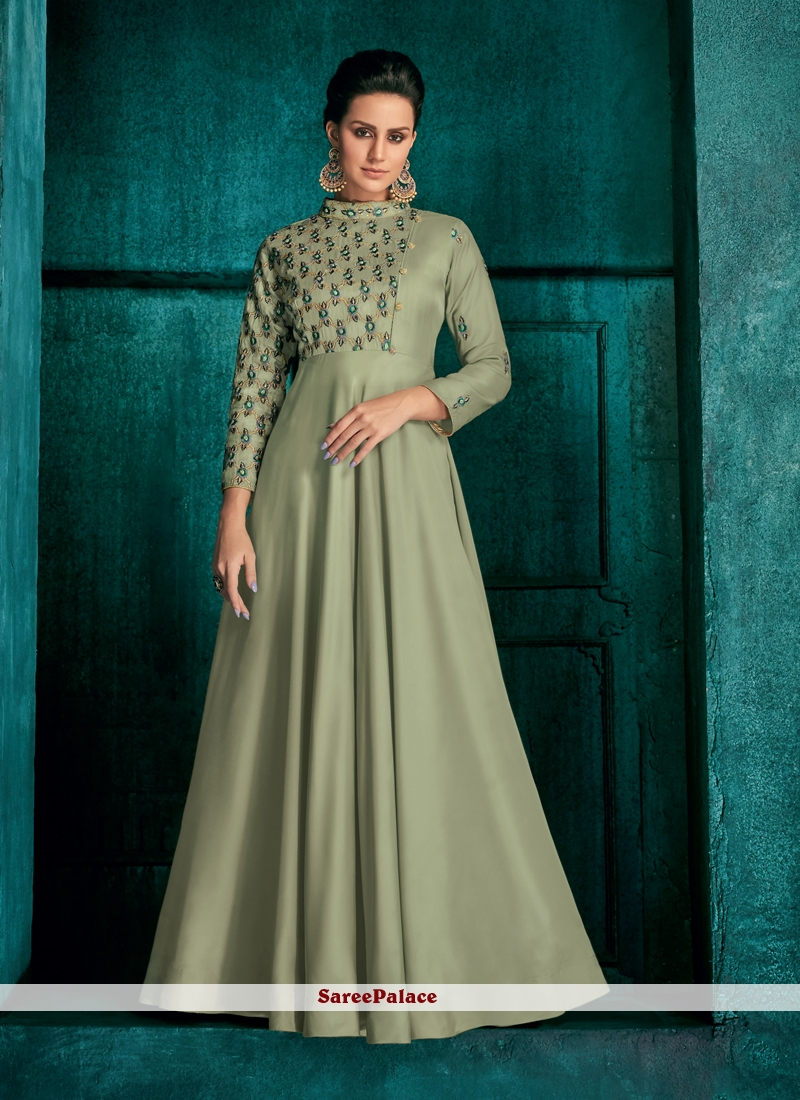 Art Silk Embroidered Readymade Gown in Green