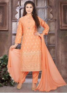 Peach Art Silk Embroidered Readymade Suit
