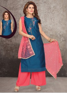 Art Silk Embroidered Readymade Suit in Blue