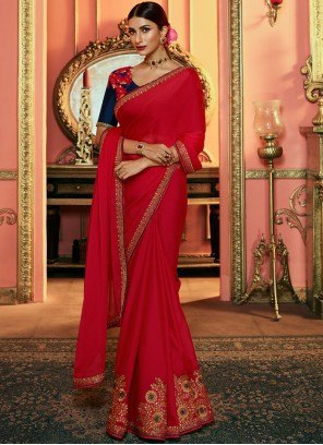Art Silk Embroidered Red Saree