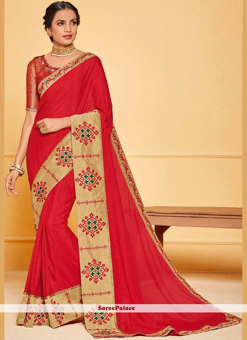 Art Silk Embroidered Red Traditional Saree