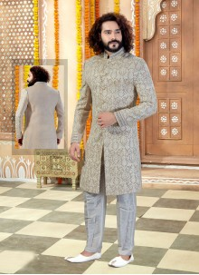 Art Silk Embroidered Sherwani in Beige