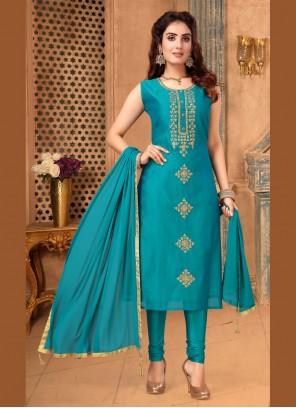 Art Silk Embroidered Teal Churidar Salwar Suit