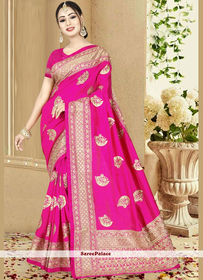 Pink Art Silk Embroidered Traditional Saree