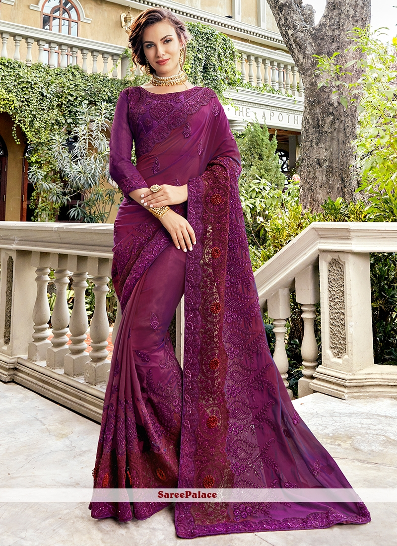 Art Silk Embroidered Traditional Saree in Purple