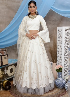 Art Silk Embroidered White Designer Lehenga Choli