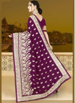 Art Silk Embroidered Wine Traditional Designer Saree
