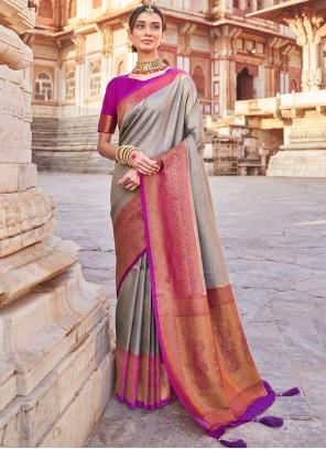 Grey Art Silk Engagement Designer Traditional Saree