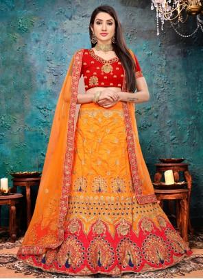 Art Silk Engagement Orange Lehenga Choli