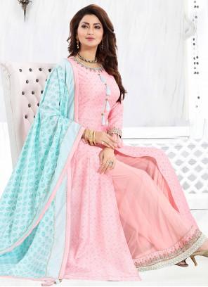 Art Silk Engagement Pink Readymade Suit