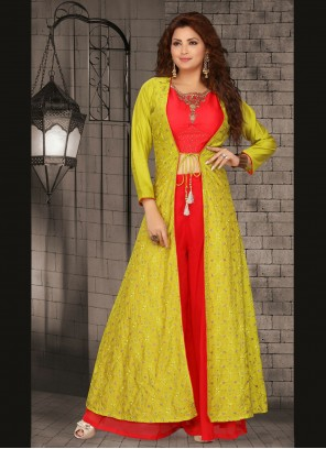 Art Silk Fancy Green and Red Readymade Suit
