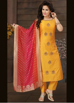 Art Silk Fancy Mustard Readymade Suit