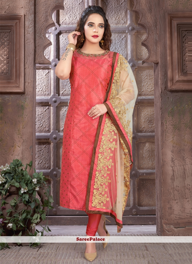 Pink Art Silk Fancy Readymade Suit