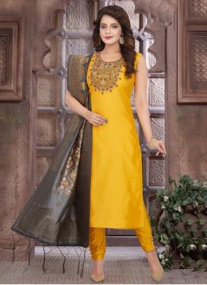 Art Silk Fancy Readymade Suit in Mustard