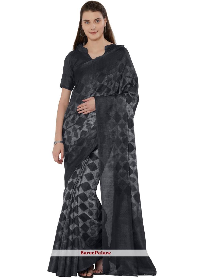 Art Silk Festival Black Casual Saree
