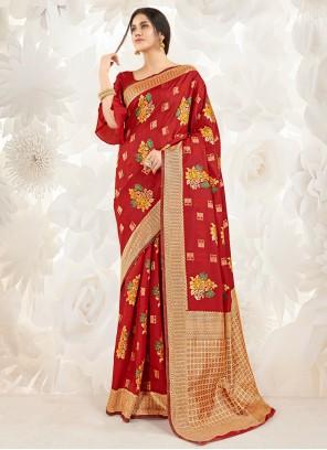 Art Silk Festival Red Classic Designer Saree