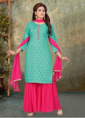 Hot Pink Art Silk Festival Designer Palazzo Suit