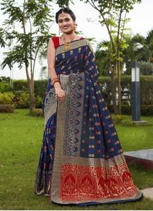 Art Silk Blue Festival Designer Traditional Saree