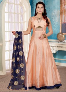 Peach Art Silk Festival Readymade Gown