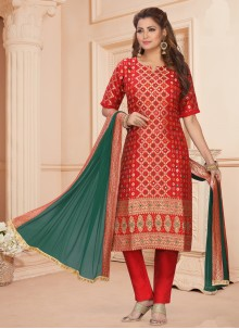 Art Silk Festival Red Readymade Suit