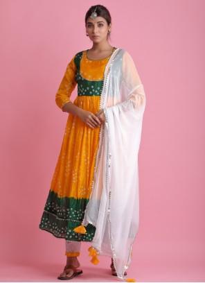 Art Silk Festival Yellow Readymade Suit