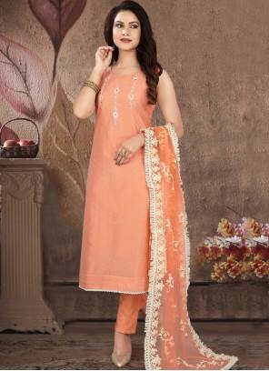 Art Silk Festival Peach Readymade Suit