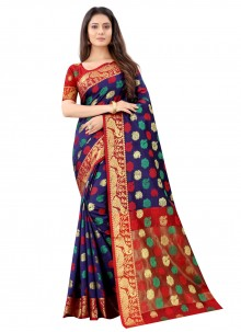 Art Silk Blue Festival Traditional Designer Saree