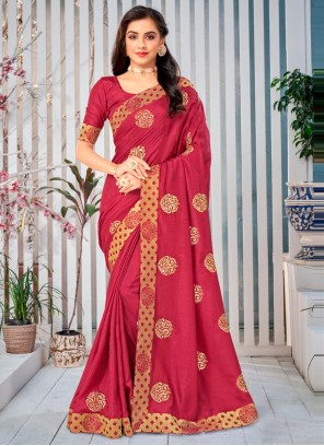 Maroon Art Silk Lace Work Traditional Designer Saree