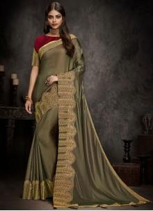 Grey Art Silk Festival Traditional Designer Saree