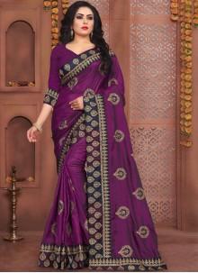 Purple Art Silk Festival Traditional Saree