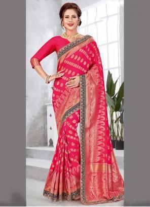 Art Silk Festival  Hot Pink Traditional Saree