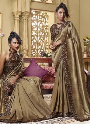 Brown Art Silk Festival Traditional Saree
