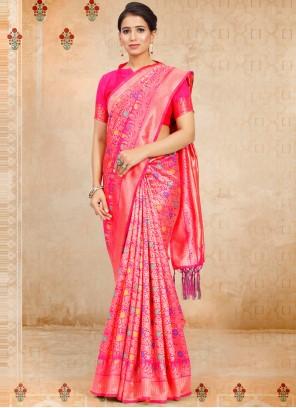 Hot Pink Art Silk Festival Traditional Saree