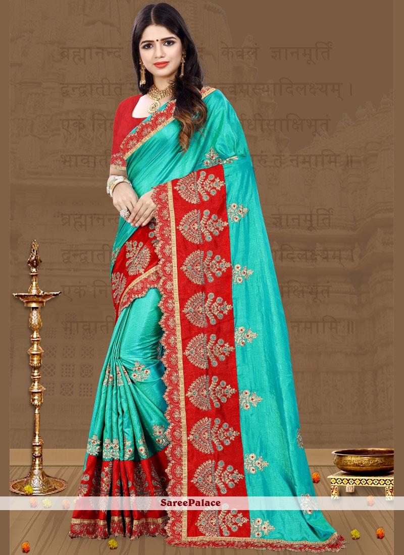 Art Silk Firozi Traditional Designer Saree