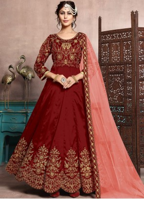 Art Silk Floor Length Anarkali Suit in Maroon