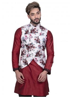 Art Silk Floral Print Nehru Jackets in White