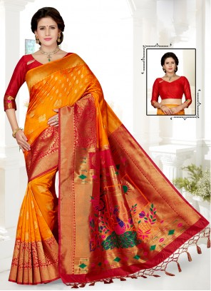 Art Silk Gold and Red Embroidered Traditional Saree