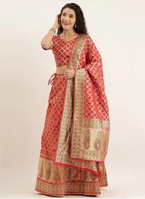 Art Silk Gold and Red Weaving Lehenga Choli