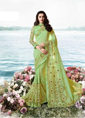 Art Silk Green Classic Designer Saree