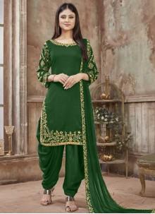 Art Silk Green Designer Patiala Salwar Kameez
