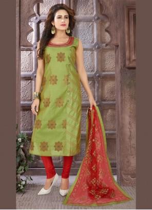Art Silk Green Embroidered Bollywood Salwar Kameez