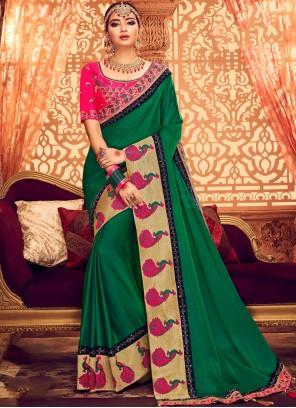 Art Silk Green Embroidered Classic Saree