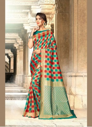 Art Silk Green Embroidered Designer Traditional Saree