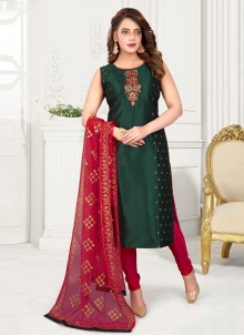 Art Silk Green Embroidered Readymade Suit