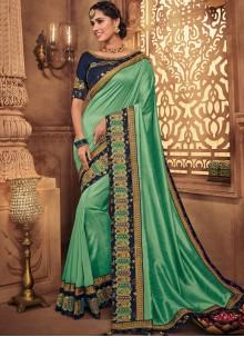 Art Silk Green Embroidered Traditional Designer Saree