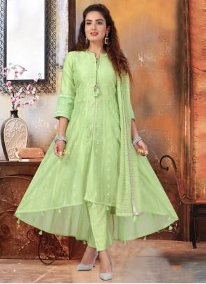 Art Silk Green Fancy Readymade Suit