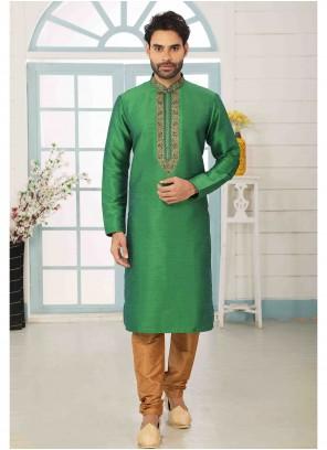 Art Silk Green Kurta Pyjama