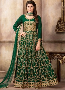 Art Silk Green Lace Floor Length Anarkali Suit